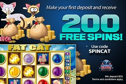 Exclusive 200 free spins bonus from Liberty Slots Casino on FatCat